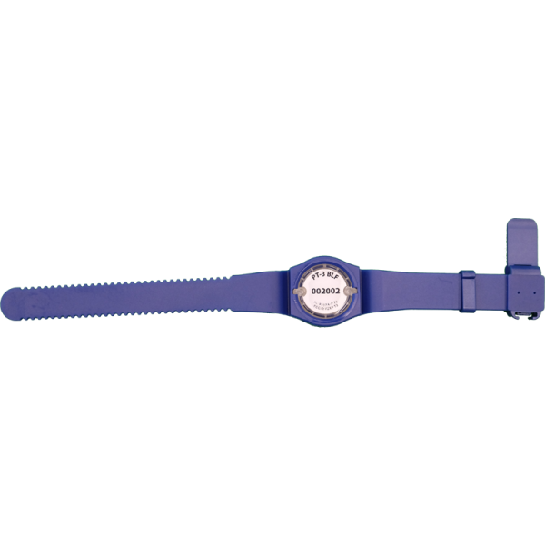 PT-3 tag in blue wristband, bottom view