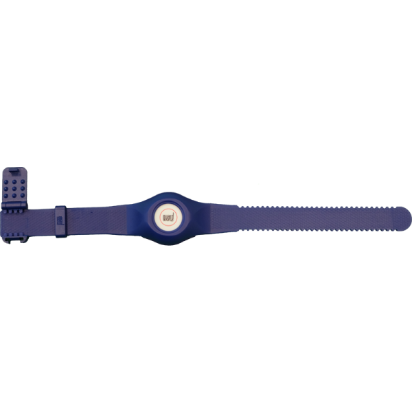 PT-3 tag in blue wristband, top view